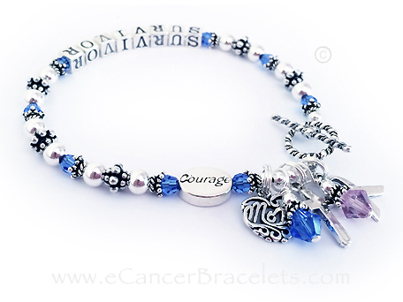 SURVIVOR Colon Cancer Bracelet - MOM charm